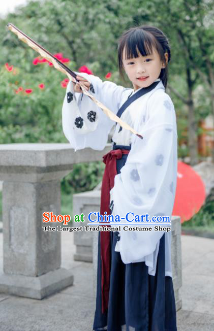 Traditional Chinese Ancient Swordsman White Costumes Ming Dynasty Princess Clothing for Kids