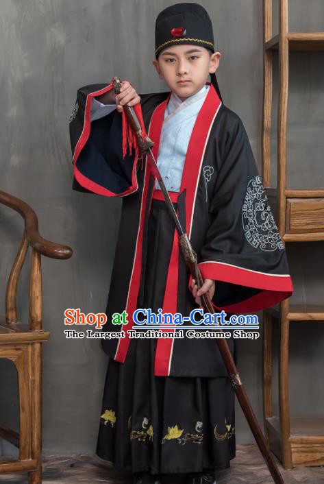 Traditional Chinese Ancient Scholar Black Costumes Han Dynasty Minister Clothing for Kids