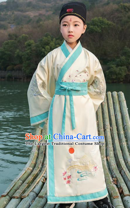 Traditional Chinese Ancient Scholar Costumes Han Dynasty Minister White Embroidered Robe for Kids
