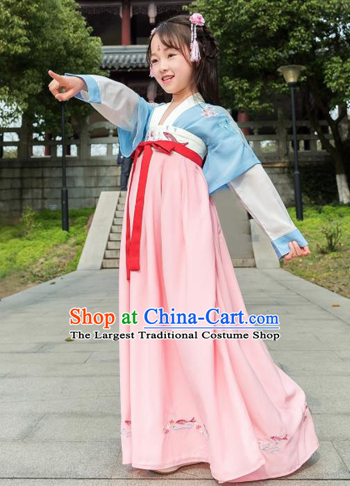 Traditional Chinese Ancient Princess Costumes Tang Dynasty Hanfu Dress for Kids