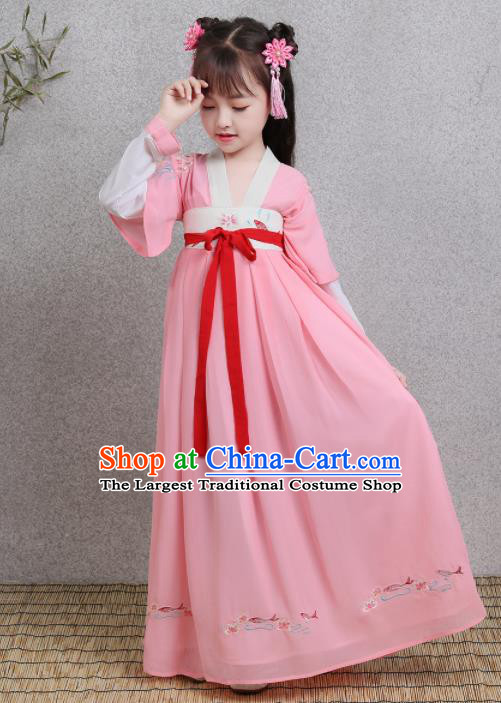 Traditional Chinese Ancient Princess Costumes Tang Dynasty Pink Hanfu Dress for Kids