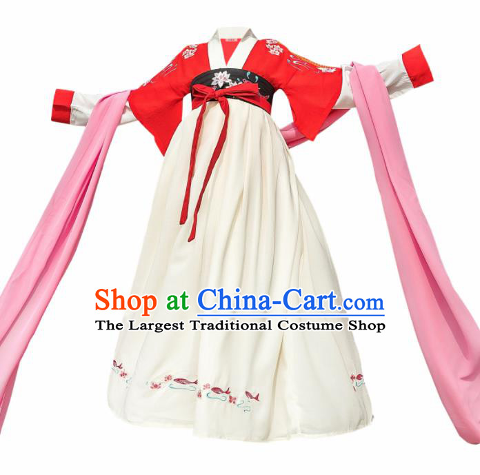 Traditional Chinese Ancient Princess Costumes Tang Dynasty Beige Hanfu Dress for Kids