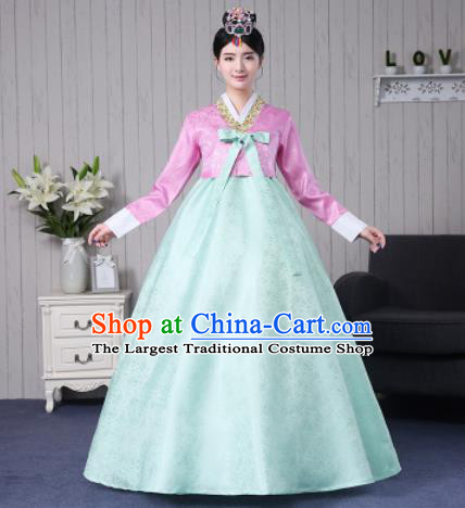 Traditional Korean Palace Costumes Asian Korean Hanbok Bride Pink Blouse and Green Skirt for Women