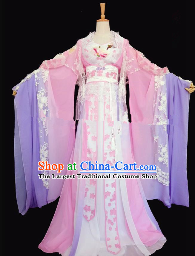 Chinese Ancient Cosplay Peri Costumes Traditional Tang Dynasty Princess Pink Hanfu Dress for Women