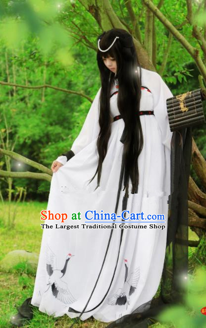 Chinese Ancient Cosplay Peri White Hanfu Dress Traditional Han Dynasty Swordswoman Costume for Women
