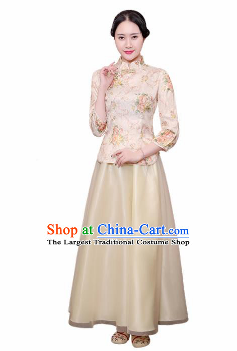 Chinese Ancient Nobility Lady Costumes Traditional Embroidered Yellow Qipao Blouse and Skirt for Women