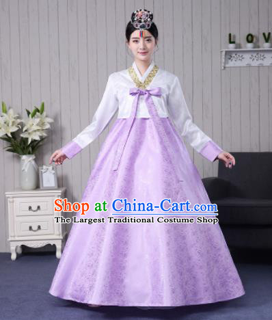 Traditional Korean Palace Costumes Asian Korean Hanbok Bride White Blouse and Lilac Skirt for Women