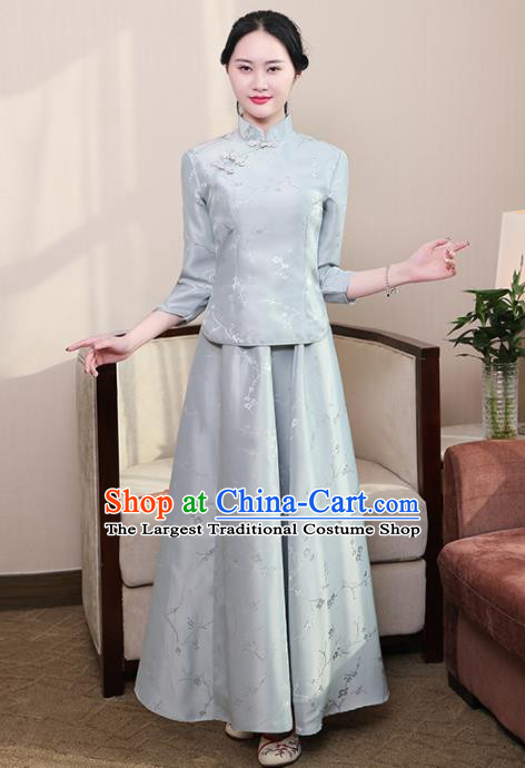 Chinese Ancient Nobility Lady Costumes Traditional Embroidered Grey Qipao Blouse and Skirt for Women