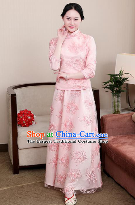 Chinese Ancient Nobility Lady Costumes Traditional Embroidered Pink Qipao Blouse and Skirt for Women