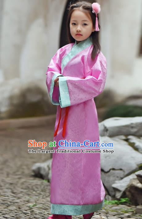 Chinese Ancient Han Dynasty Princess Costumes Traditional Pink Hanfu Dress for Kids