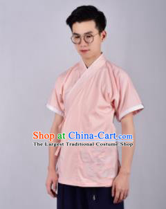 Chinese Ancient Swordsman Hanfu Han Dynasty Costume Pink Tang Suit Shirt for Men