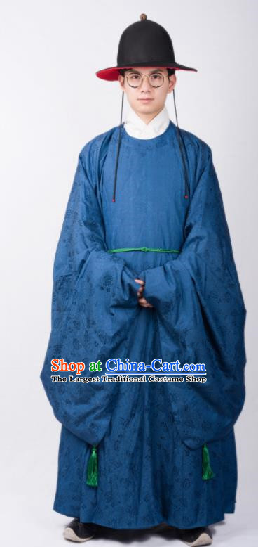 Chinese Ancient Swordsman Blue Robe Traditional Ming Dynasty Imperial Bodyguard Costumes for Men