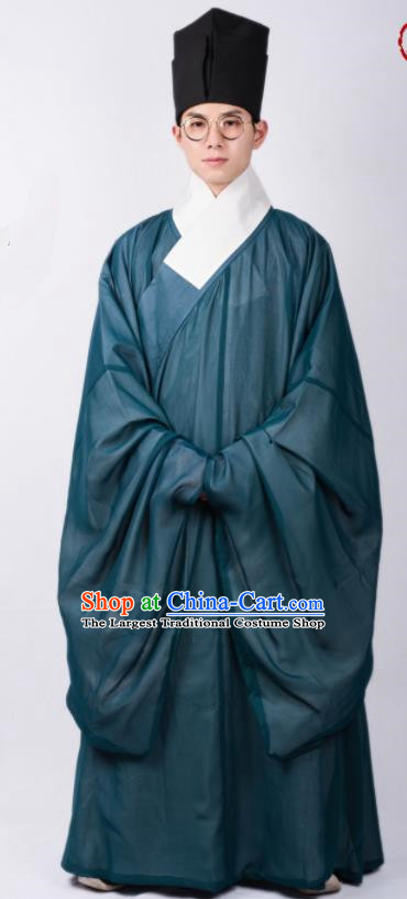 Chinese Ancient Scholar Green Robe Traditional Ming Dynasty Taoist Priest Costumes for Men