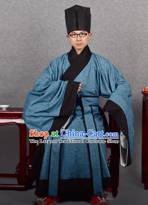 Chinese Ancient Taoist Blue Robe Traditional Ming Dynasty Minister Costume for Men