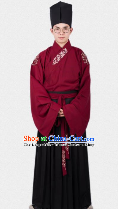 Chinese Ancient Traditional Ming Dynasty Scholar Red Costumes Complete Set for Men