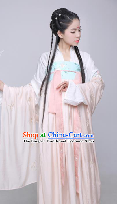 Chinese Ancient Hanfu Dress Tang Dynasty Palace Princess Embroidered Costume for Rich Women