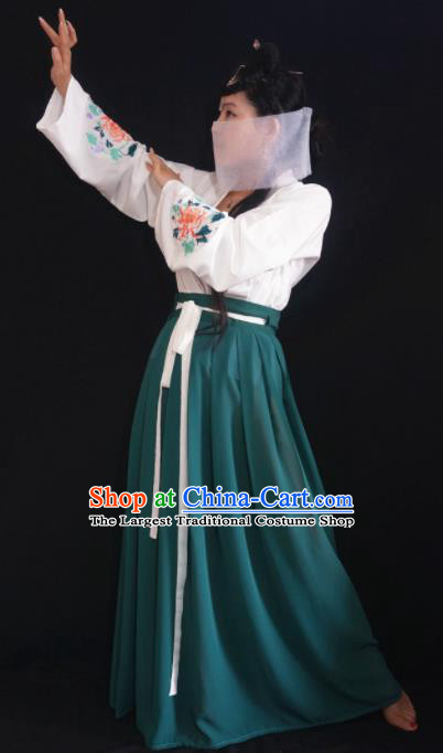 Chinese Ancient Nobility Lady Green Dress Tang Dynasty Embroidered Costume for Rich Women
