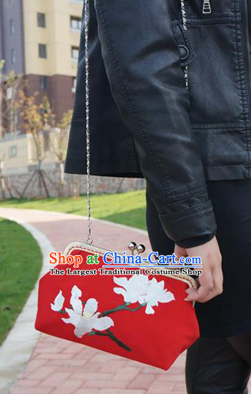 Traditional Chinese Embroidered Bag Handmade Red Silk Handbag for Women