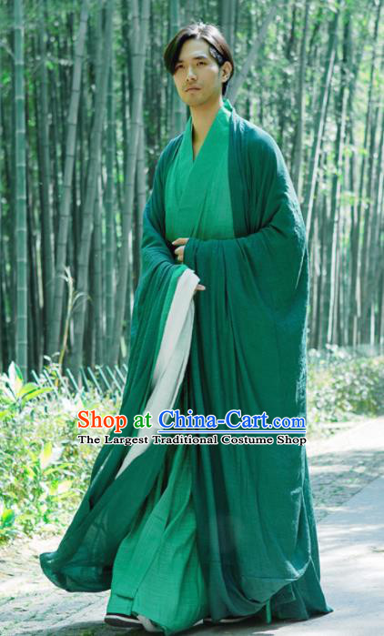 Chinese Ancient Traditional Jin Dynasty Swordsman Hermit Green Costumes for Men