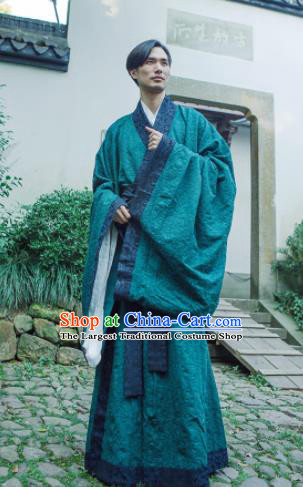 Chinese Ancient Traditional Han Dynasty Green Cloak Scholar Swordsman Costumes for Men