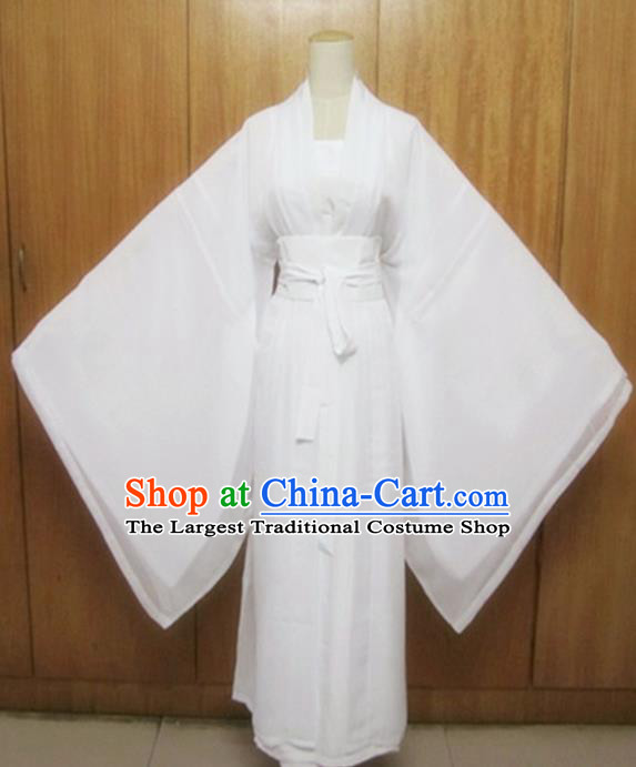 Traditional Chinese Tang Dynasty Costume Ancient Princess White Hanfu Dress for Women