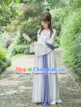 Traditional Chinese Tang Dynasty Maidenform Costume Ancient Princess Lilac Hanfu Dress for Women