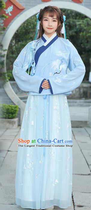 Chinese Ancient Fairy White Dress Ming Dynasty Young Lady Costume for Rich Women