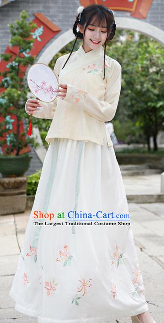 Chinese Traditional National Nobility Lady Costume Ancient Embroidered Hanfu Dress for Rich Women