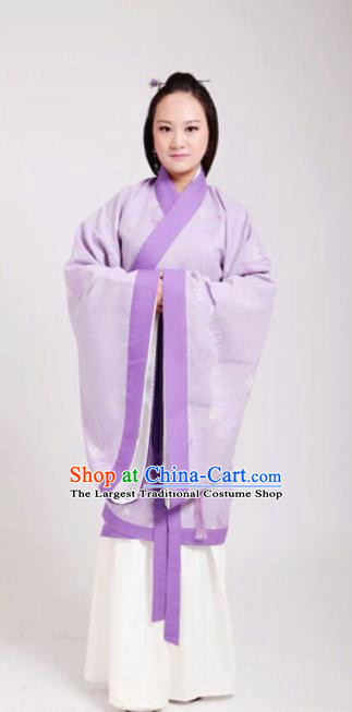 Traditional Chinese Han Dynasty Princess Costume Ancient Peri Embroidered Purple Hanfu Dress for Women