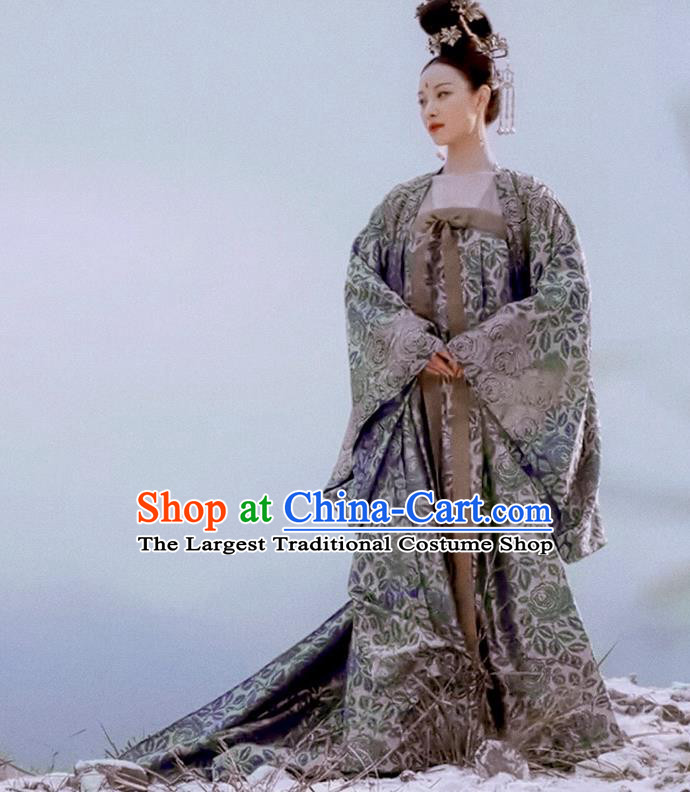 Ancient Chinese Tang Dynasty Princess Consort Hanfu Dress The Rise of Phoenixes Palace Costume and Headpiece Complete Set