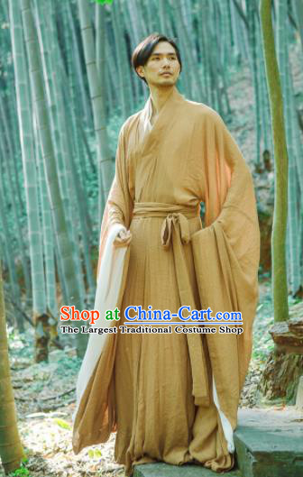 Chinese Ancient Traditional Han Dynasty Ginger Wide Sleeve Robe Scholar Swordsman Costumes for Men