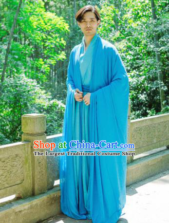 Chinese Ancient Traditional Jin Dynasty Swordsman Costumes Scholar Blue Cloak for Men