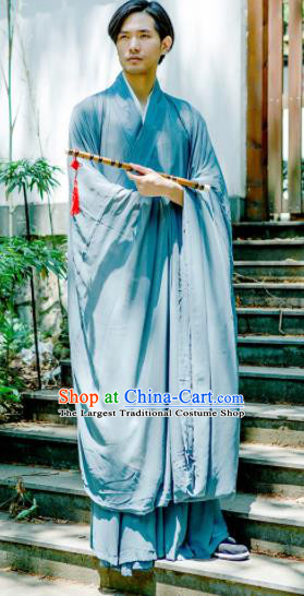 Chinese Ancient Traditional Jin Dynasty Swordsman Costumes Scholar Blue Straight-Front Robe for Men
