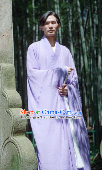 Chinese Ancient Traditional Han Dynasty Purple Wide Sleeve Robe Scholar Swordsman Costumes for Men