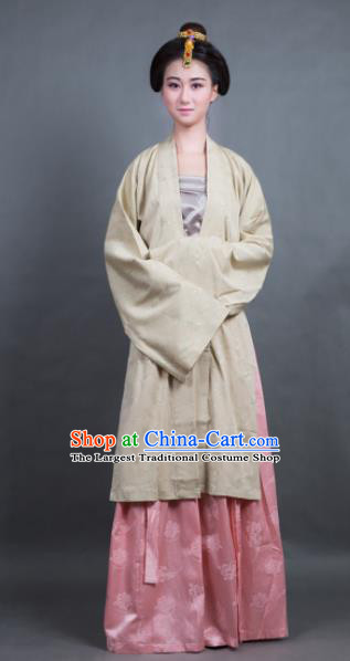 Traditional Chinese Song Dynasty Countess Yellow BeiZi Costume Ancient Hanfu Dress for Rich Women