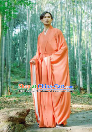 Chinese Ancient Traditional Han Dynasty Orange Wide Sleeve Robe Scholar Swordsman Costumes for Men