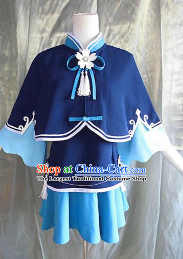 Asian Chinese Cosplay Young Lady Costume Ancient Swordswoman Blue Dress for Women