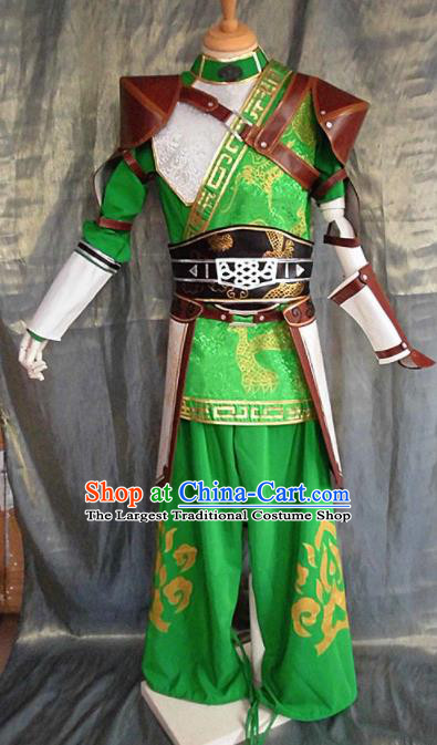 Asian Chinese Cosplay Customized General Warrior Green Costume Ancient Swordsman Clothing for Men