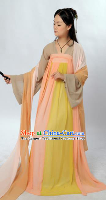 Traditional Chinese Tang Dynasty Maidenform Costume Ancient Young Lady Clothing for Women