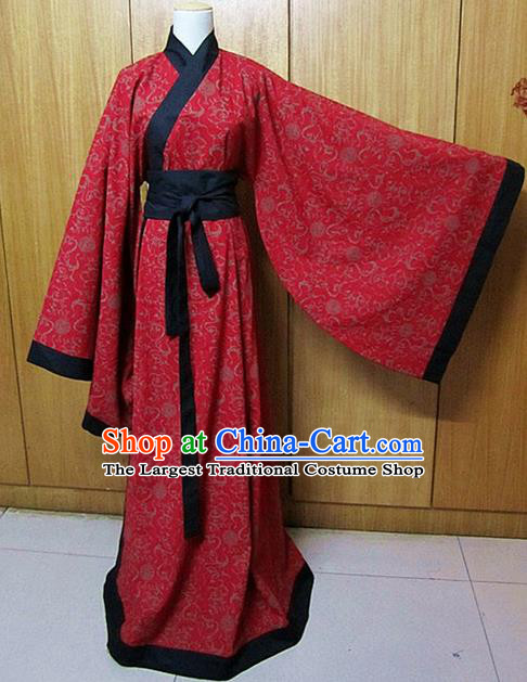 Chinese Traditional Han Dynasty Scholar Wedding Costumes Ancient Nobility Childe Red Robe for Men