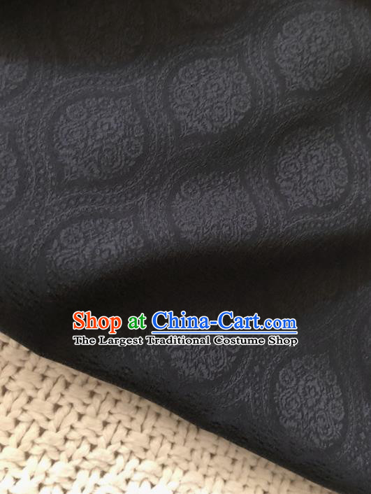 Asian Chinese Traditional Fabric Classical Pattern Black Brocade Cheongsam Cloth Silk Fabric