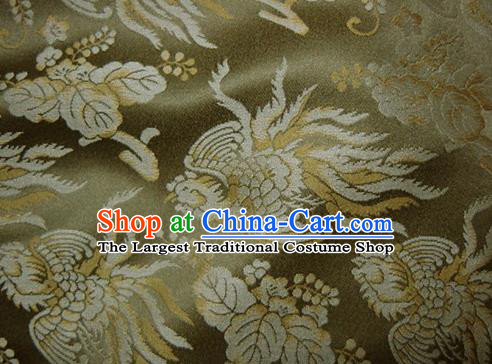 Asian Chinese Traditional Fabric Classical Phoenix Pattern Olive Green Brocade Cheongsam Cloth Silk Fabric