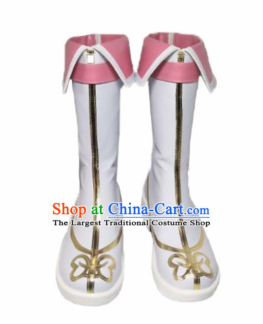 Asian Chinese Cosplay Shoes Cartoon Fairy Princess White Boots for Women