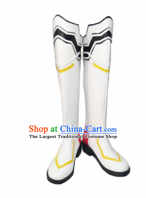 Asian Chinese Cosplay Alchemist Shoes Cartoon Fairy Princess White Boots for Women