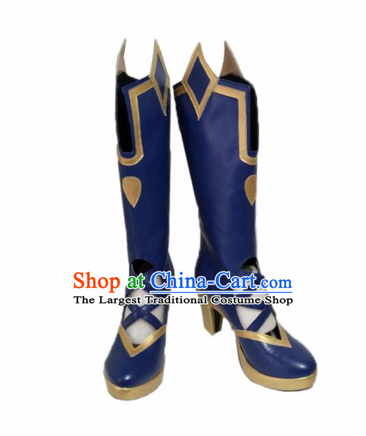 Asian Chinese Cosplay Alchemist Shoes Cartoon Fairy Princess Blue Boots for Women