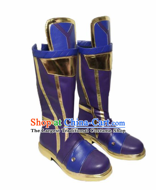 Asian Chinese Cosplay Alchemist Shoes Cartoon Fairy Princess Purple Boots for Women