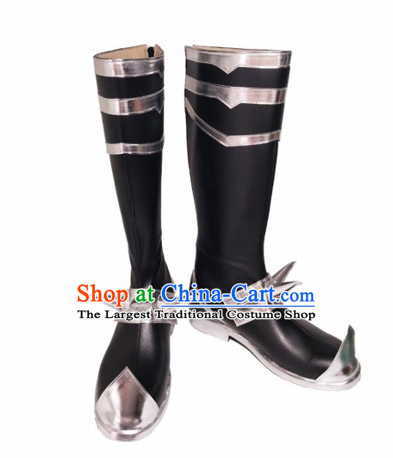 Asian Chinese Cosplay Cartoon Knight Shoes Ancient Swordsman Black Boots for Men