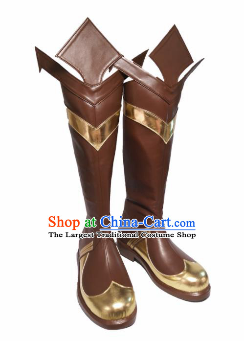 Asian Chinese Cosplay Cartoon General Shoes Ancient Swordsman Brown Boots for Men