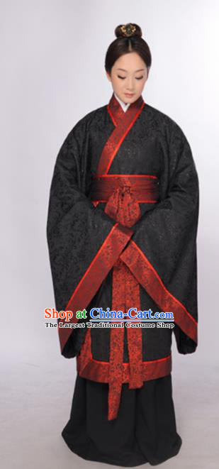 Asian Chinese Traditional Han Dynasty Empress Black Curving-Front Robe Ancient Palace Queen Costumes for Women