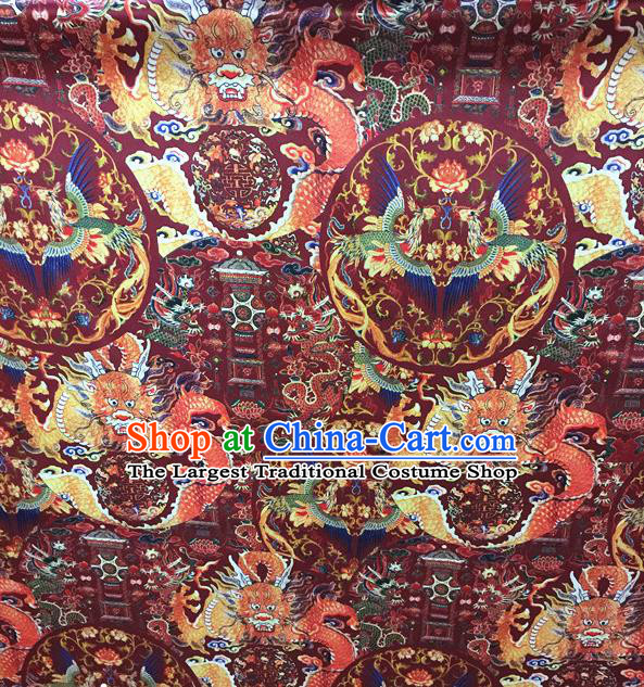 Asian Chinese Traditional Silk Fabric Royal Dragons Pattern Brocade Cheongsam Cloth Silk Fabric